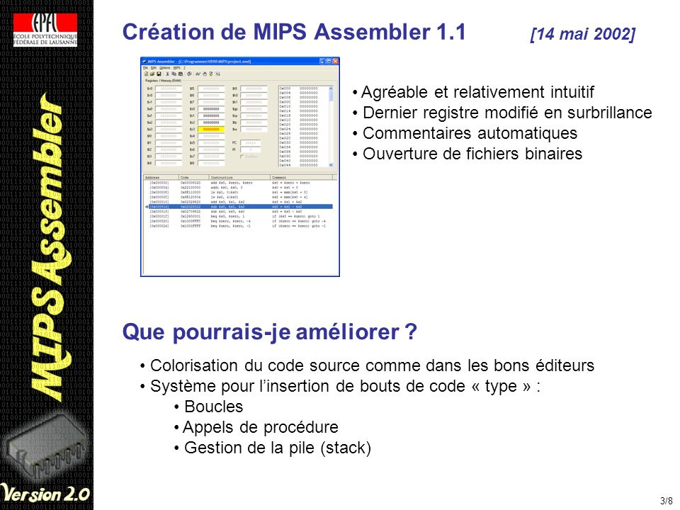Création de MIPS Assembler 1.1 [14 mai 2002]